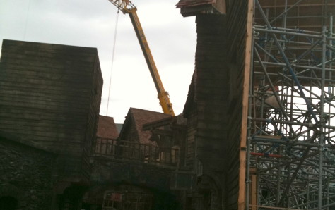 Pirates of the Caribbean set using a crane