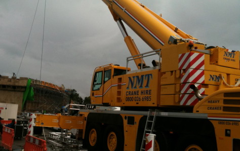 An NMT crane on a building site