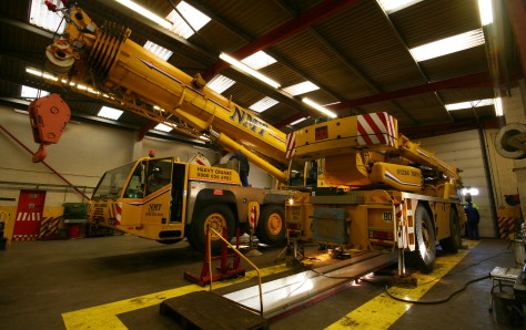 A picture of a crane in for maintenance