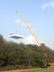 A heavy crane lifting
