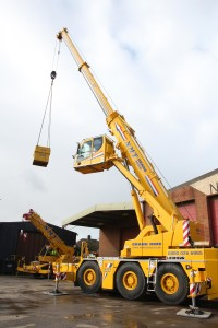 A picture of a large NMT crane on display