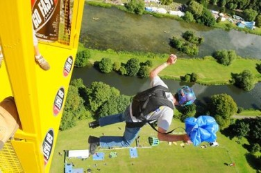 Base jumping from a crane