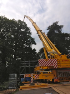 A picture of a fully extended jib of a nmt crane hire crane