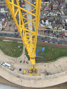 A birdseye view image from the top of an NMT Crane Hire tower crane