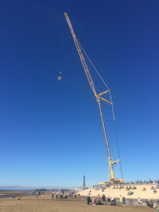 A picture of an NMT Crane used for bungee jumping in Blackpool
