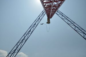 A picture of a crane being used for a bungee jump