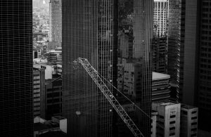 A black and white photo of a cranes jib