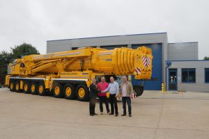 A picture of the new 500 ton crane of NMT Crane Hire outside their new depot