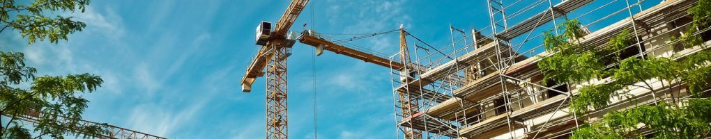 A crane hire company on operation on a construction site