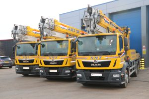 A picture of 3 NMT branded cranes for hire