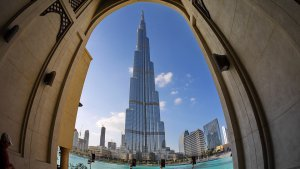 A photo of the Burj Khalifa in the centre of Dubai
