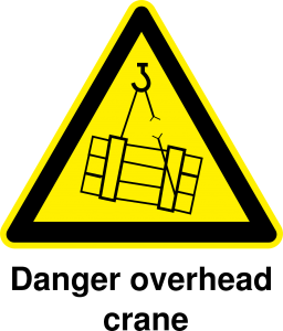 image of a danger overhead sign - crane safety