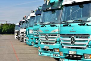 Image of a row of trucks lined up